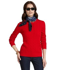 Cashmere Cable Crewneck Sweater   Brooks Brothers