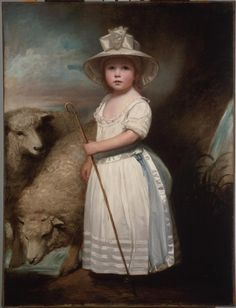 """Uncover the stories of the people looking out from the artworks. Explore portraiture through art-making and fun interactives at the Family Art Cart noon to 3:00 p.m. on Sundays this month.""""Shepherd Girl (Little Bo-Peep),"""" c. 1778, by George Romney"""