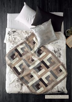 log cabin knit throw in neutral colours by Cleckheaton Australia