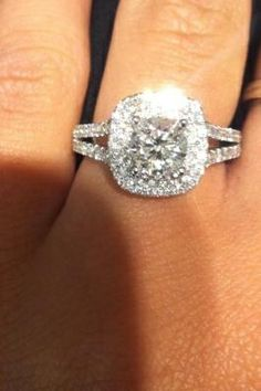 Vera Wang LOVE Collection 2 CT. T.W. Diamond Frame Split Shank Engagement Ring in 14K White Gold (oh. My. God.)