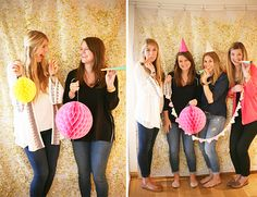 We created a this custom DIY photobooth backdrop in our favorite color (gold!) with our favorite prop (confetti!) for the sparkliest photobooth yet!