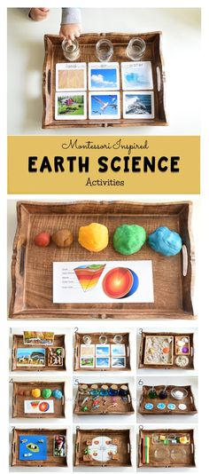 Earth Science for kids science kidsactivities activitytrays montessori earthday Science Montessori, Earth Science Activities, Montessori Homeschool, Montessori Classroom, Preschool Science, Science For Kids, Montessori Bedroom, Montessori Toddler, Baby Activities