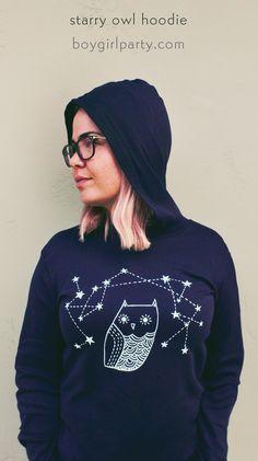 Starry Owl Hoodie by boygirlparty: http://shop.boygirlparty.com/products/navy-owl-hoodie?variant=11216048263