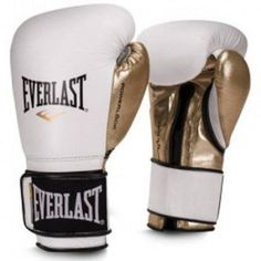 Everlast 14 oz Men's Powerlock Hook/Loop Gloves, Black-Gold, Gold