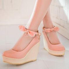Shoespie Pink Bowtie Wedge Heels