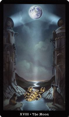 The Moon - The Steampunk Tarot - Muted, subconscious, feminine, dark, all the layers of moon energy here! Vampires, The Moon Tarot, Steampunk, Tarot Major Arcana, Tarot Card Decks, Beautiful Moon, Tarot Readers, Oracle Cards, Deck Of Cards