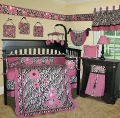 Custom Baby Girl Boutique - (Brown) Pink Zebra 13 PCS Crib Bedding by Sisi, http://www.amazon.com/dp/B005H7NXH8/ref=cm_sw_r_pi_dp_7m0Qqb0MWB004