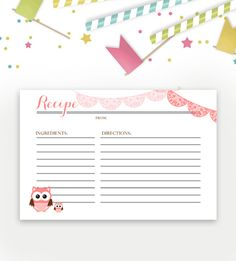 Baby Shower Recipe Card – Pink Owl – Instant Download Printable