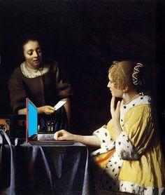 Johannes Vermeer Mistress and Maid oil painting for sale; Select your favorite Johannes Vermeer Mistress and Maid painting on canvas or frame at discount price. Johannes Vermeer, Rembrandt, Vermeer Paintings, List Of Paintings, Oil Paintings, Amazing Paintings, Amazing Art, Ancient Art, Art History