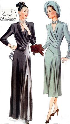 OOP Vintage Model Vogue 2354 Dress Original 1947 by sandritocat, $35.00