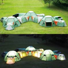 tents that zip together It's like a camping fort.  wooooaaahhh!!! I would go camping in the back yard with these!