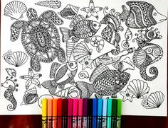 Ocean Page for coloring, perfect for those who like coloring pages and more complex work with many colors. Its color therapy! Attached we have 5