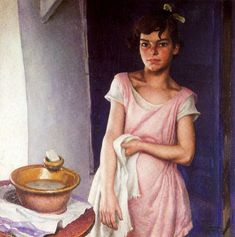 Susie and the Wash Basin by Laura Knight Date painted: 1929 Oil on canvas, 61 x 61 cm Collection: Harris Museum & Art Gallery Munier, English Artists, British Artists, Museum Art Gallery, Knight Art, Irish Art, Ballet, Vintage Artwork, Art Uk
