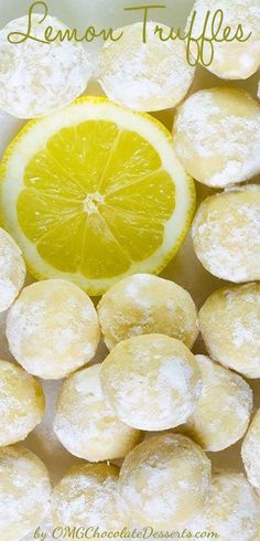 White Chocolate Lemon Truffles Recipe via OMG Chocolate Desserts - The BEST Easy Lemon Desserts and Treats Recipes - Perfect For Easter, Mother's Day Brunch, Bridal or Baby Showers and Pretty Spring and Summer Holiday Party Refreshments! Lemon Desserts, Lemon Recipes, Sweet Recipes, White Desserts, Dog Recipes, Candy Recipes, Cookie Recipes, Dessert Recipes, Dessert Food