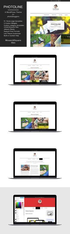 Minimal photo blog Theme Photoline. WordPress Photography Themes. $39.00