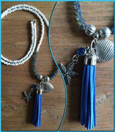 Ketting met kwast wit, blauw