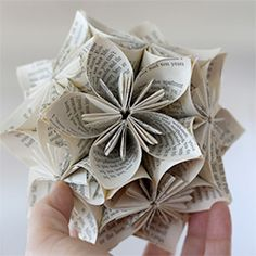 "This kusudama sphere uses old book pages via ""Playing with Books"""