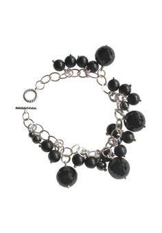 Plus Size Women's Blackat Onyx Sterling Charm Bracelet