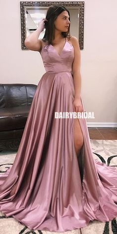 Buy A Line V Neck Satin Lace up Dusty Rose High Slit Prom Dresses Long Evening Dresses online.Shop short long ombre prom, homecoming, bridesmaid evening dresses at Couture Candy Cocktail party dresses, formal ball gowns in ombre colors. Straps Prom Dresses, V Neck Prom Dresses, Pink Prom Dresses, Cheap Prom Dresses, Prom Party Dresses, Formal Evening Dresses, Evening Gowns, Long Dresses, Evening Party