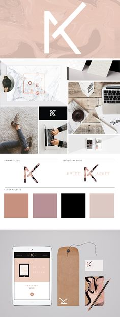 Kylee Acker Logo /// Marbled neutrals + women in tech moodboard