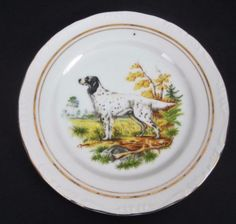 Vtg-English-Setter-Collector-Plate-Dog-Embossed-Gold-Trim-Fall-Colors-7-1-2-inch