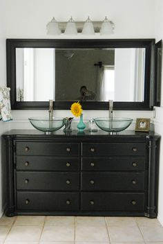 Repurposed dresser as bathroom vanity with lots of pictures. This one has the sinks on top instead cutti Repurposed dresser as bathroom vanity with lots of pictures. This one has the sinks on top instead cutting into the top of the dresser. Diy Dresser, Home, Bathroom Makeover, Home Remodeling, Girls Bathroom, Bathroom, Bathroom Renovations, Bathrooms Remodel, Bathroom Decor