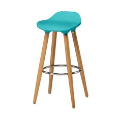 Buy Blue Plastic Bar Stool with Beech Wood Legs from Fusion Living