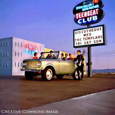1962 the first teenage-nightclub in the USA at 4416 Paradise Road in Las Vegas, called the Teen Beat Club. Take a good look at the building. You may be vaugely familiar with it. It is now Club Paradise, the strip-club located just across the street from the Hard Rock Hotel.