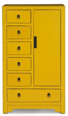 Domus Medium Storage Cabinet with 6 drawers, Yellow