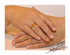 nude nails nail art gold roses