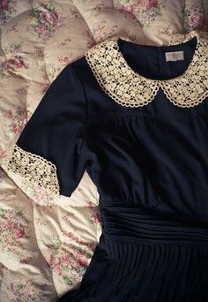 Navy dress with lace Peter Pan collar