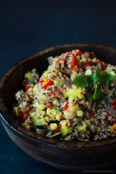 Southwestern Roasted Vegetable Quinoa Salad - One of over 30 beautiful brunch recipes for Mother's Day, or any special occasion! The collection includes main dishes, appetizers, drinks, and desserts. | A Family Feast