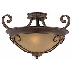 @Overstock - Triarch International's Corsica line coaxes soft light through antiqued glass and shapely curves for a contemporary twist on traditional themes.  http://www.overstock.com/Home-Garden/Triarch-International-Corsica-3-light-English-Bronze-Semi-Flush-Mount/6414927/product.html?CID=214117 Add to cart to see special price
