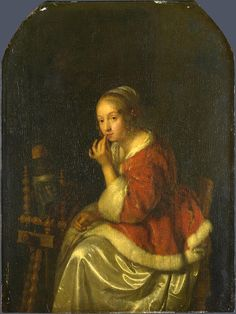 Caspar Netscher Art A Lady At A Spinning-wheel  Caspar Netscher