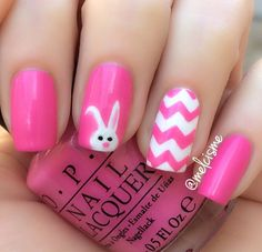 Easter Bunny & chevron by instagram user melcisme   #easter #easternails #chevron #pink #spring