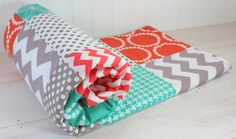 Baby Blanket, Unisex Patchwork Baby Blanket, Gender Neutral Baby Blanket, Photography Prop, Teal Blue, Mint Green, Coral and Gray Chevron on Etsy, $60.60 AUD