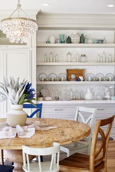 Idea- if we ever decide to build in the pantry-put it at the end of cabinets and add open shelving about built in drawer (buffet) area