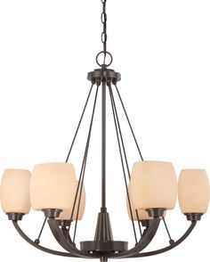 Nuvo Lighting 60-4206 Helium Collection Six Light Hanging Chandelier in Vintage Bronze Finish