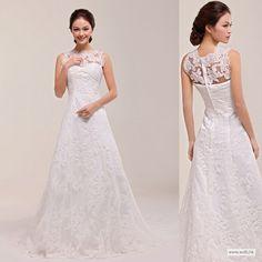 lace bridesmaid dresses Elegant re-embroidery lace decorate neckline A-line wedding dress $366.78