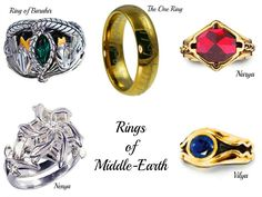 Rings of Middle-Earth- not sure of the significance of all but one of these (duh) but I can think of a dwarf, a hobbit and an elven lord I wouldn't mind giving one of these to me. Hobbit Tolkien, O Hobbit, The Middle, Middle Earth, Into The West, Three Rings, Dark Lord, Lord Of The Rings, Rings Of Power