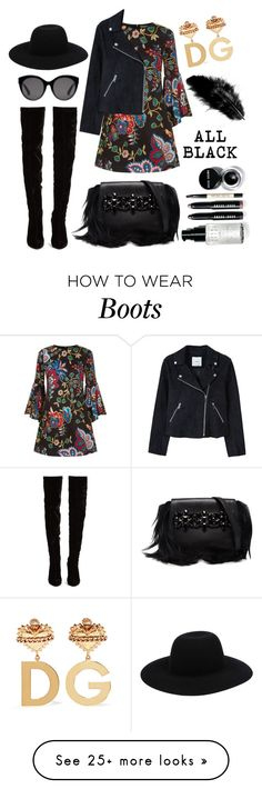 """""""Black Boots"""" by mayashireenjoe on Polyvore featuring Christian Louboutin, Alice + Olivia, Off-White, MANGO, GEDEBE, Gucci, Dolce&Gabbana and Bobbi Brown Cosmetics"""