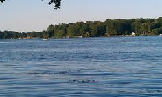 Beautiful Rice Lake as Joel and I sat at the water's edge watching someone water ski.