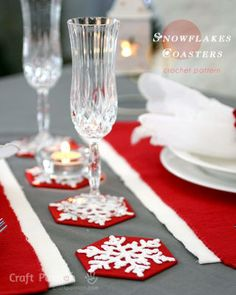 Snowflake Coasters: This frosty crochet design will be a merry addition to your table decor as Christmas coasters your guests will adore.