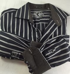 Bugatchi Flip Cuff Classic Fit Men's Button Front Shirt Size M #Bugatchi