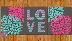 Floral Bloom Blossom Teen Girl's Hot Pink Teal Chevron Love Room Baby Nursery Decor Wall Art Shower Gift Set of 3 Digital JPG 8x10 (108)