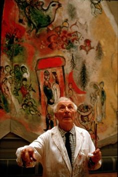 """It is amazing the way the French resent foreigners. You live here most of your life, you become a naturalized French citizen, work for nothing decorating their cathedrals, and still they despise you. You are not one of them.""-Marc Chagall, 77 years old when finished a ceiling mural of Opera Garnier (photographed by Izis Bidermanas 1964) #Jewish #art #marc-chagall #marcchagall #MarcChagall #chagall"