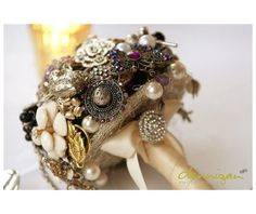 purple and pearl brooch wedding bouquets