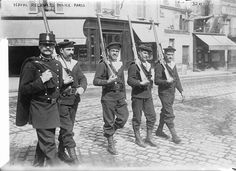 1914 - French naval recruits with a police officer, Paris, France, at the beginning of World War I.