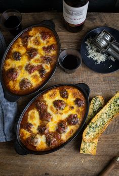 A delicious baked meatball recipe with easy garlic bread
