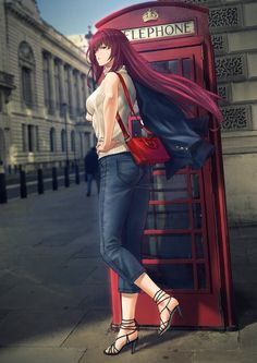 🦯 Scáthach from Fate/Grand Order next to a telephone booth 🗡️ 📞 Comic Manga, Chica Anime Manga, Manga Girl, Kawaii Anime Girl, Anime Art Girl, Scathach Fate, Type Moon Anime, Fate Stay Night Anime, Real Anime